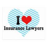 Amo a abogados del seguro tarjeta postal