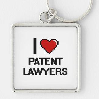 Amo a abogados especializados en derecho de llavero cuadrado plateado