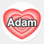 Amo a Adán. Te amo Adán. Corazón Pegatinas Redondas