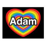 Amo a Adán. Te amo Adán. Corazón Postal