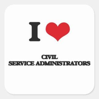 Amo a administradores de la función pública pegatina cuadrada