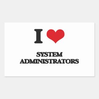 Amo a administradores de sistema rectangular pegatinas