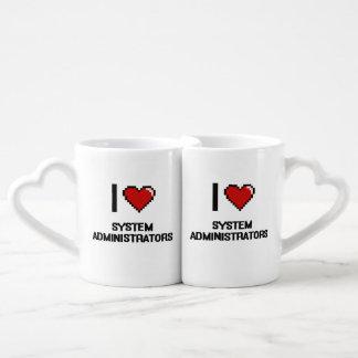 Amo a administradores de sistema taza para parejas