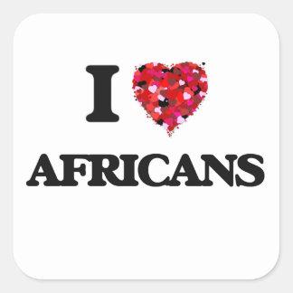 Amo a africanos pegatina cuadrada