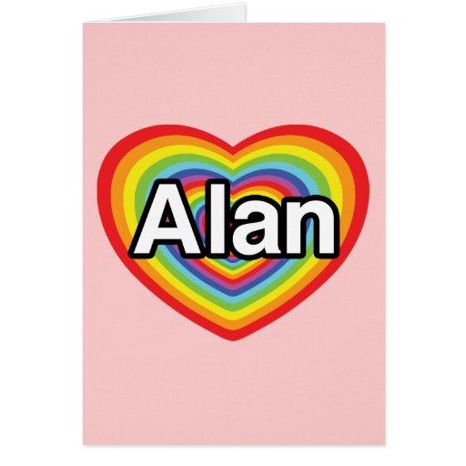 Amo a Alan, corazón del arco iris Tarjeta De Felicitación