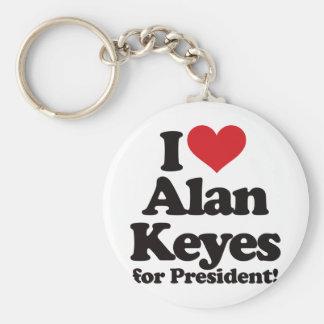 Amo a Alan Keyes para el presidente Llavero Redondo Tipo Pin