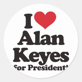 Amo a Alan Keyes para el presidente Pegatina Redonda