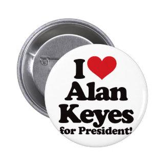 Amo a Alan Keyes para el presidente Pin Redondo De 2 Pulgadas