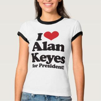 Amo a Alan Keyes para el presidente Playera