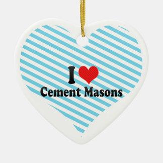Amo a albañiles del cemento adorno de navidad