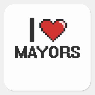 Amo a alcaldes pegatina cuadrada