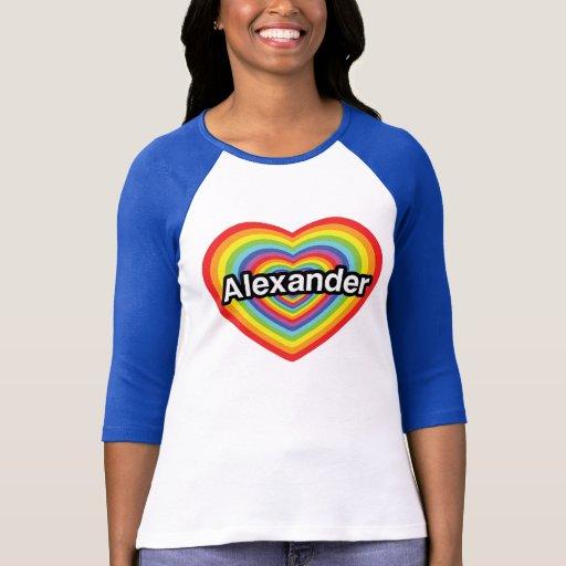 Amo a Alexander, corazón del arco iris Playera
