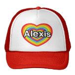 Amo a Alexis, corazón del arco iris Gorro