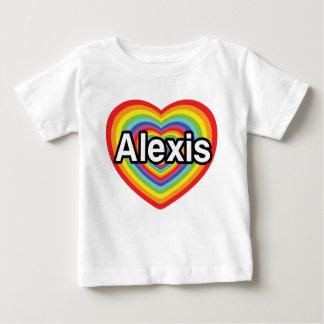 Amo a Alexis, corazón del arco iris Playera De Bebé