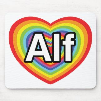 Amo a Alf, corazón del arco iris Alfombrillas De Ratones