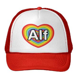 Amo a Alf, corazón del arco iris Gorro