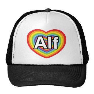 Amo a Alf, corazón del arco iris Gorros Bordados