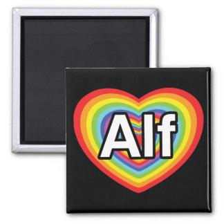 Amo a Alf, corazón del arco iris Imán Cuadrado