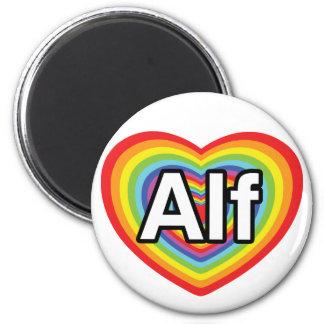 Amo a Alf, corazón del arco iris Imán Redondo 5 Cm