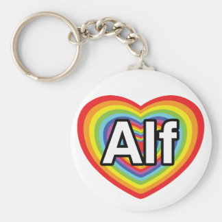 Amo a Alf, corazón del arco iris Llavero Redondo Tipo Pin