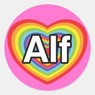 Amo a Alf, corazón del arco iris Pegatina Redonda
