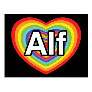 Amo a Alf, corazón del arco iris Postal