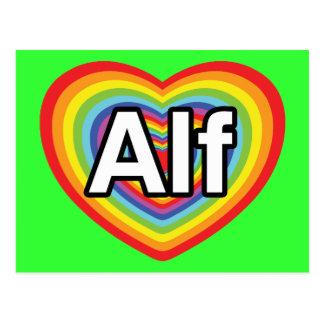 Amo a Alf, corazón del arco iris Postales