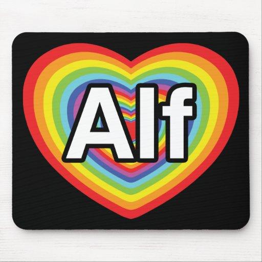 Amo a Alf, corazón del arco iris Alfombrilla De Raton