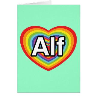 Amo a Alf, corazón del arco iris Tarjeta De Felicitación