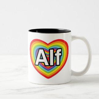 Amo a Alf, corazón del arco iris Taza De Dos Tonos