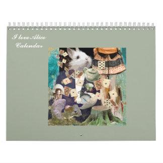 Amo a Alicia en el país de las maravillas Calendario De Pared