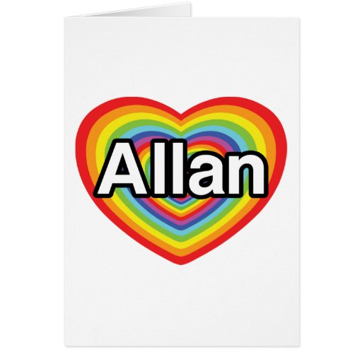 Amo a Allan, corazón del arco iris Tarjetón