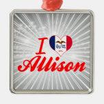 Amo a Allison, Iowa Ornamentos De Navidad