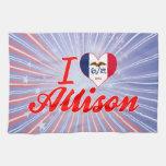 Amo a Allison, Iowa Toalla De Cocina