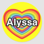 Amo a Alyssa, corazón del arco iris Pegatina Redonda