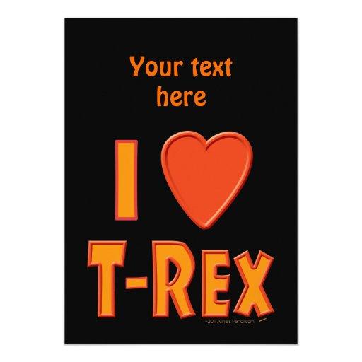 """Amo a amantes del dinosaurio de Rex del Invitación 5"""" X 7"""""""