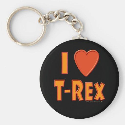 Amo a amantes del dinosaurio de Rex del Llavero Redondo Tipo Pin
