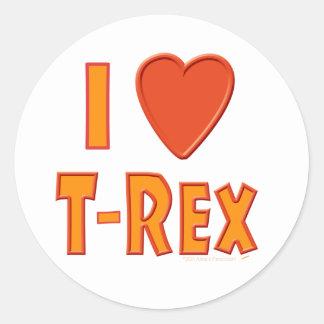 Amo a amantes del dinosaurio de Rex del Pegatina Redonda