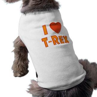 Amo a amantes del dinosaurio de Rex del Playera Sin Mangas Para Perro