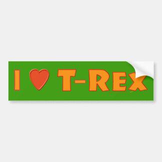 Amo a amantes del dinosaurio de Rex del Tyrannosau Pegatina Para Auto