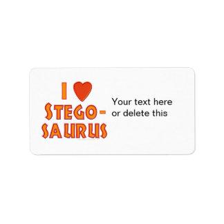 Amo a amantes del dinosaurio del Stegosaurus Etiquetas De Dirección