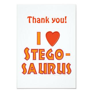 """Amo a amantes del dinosaurio del Stegosaurus Invitación 3.5"""" X 5"""""""