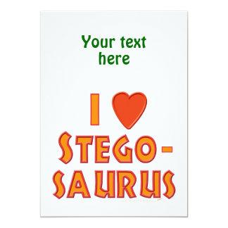 """Amo a amantes del dinosaurio del Stegosaurus Invitación 5"""" X 7"""""""