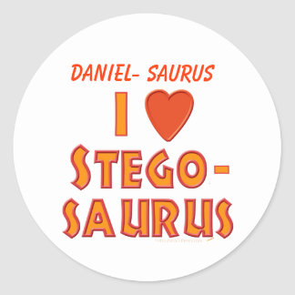 Amo a amantes del dinosaurio del Stegosaurus Pegatina Redonda