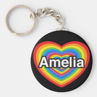 Amo a Amelia. Te amo Amelia. Corazón Llavero Redondo Tipo Pin
