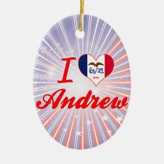 Amo a Andrew, Iowa Adorno Ovalado De Cerámica