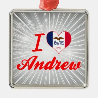 Amo a Andrew, Iowa Adorno Cuadrado Plateado