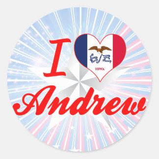 Amo a Andrew, Iowa Pegatina Redonda