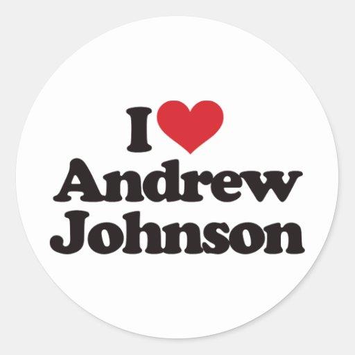 Amo a Andrew Johnson Pegatina Redonda