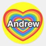 Amo a Andrew. Te amo Andrew. Corazón Pegatina Redonda